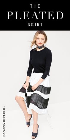 The versatile and flattering midi skirt has been revamped with pretty pleats, intricate mesh fabrication and a side zip. Always a sophisticated piece for mixing and matching for any occasion. Shop now at Banana Republic.