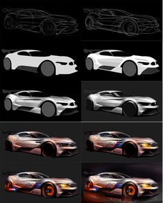Sketching process, BMW GT3, By Kataoka