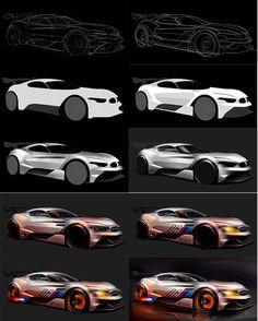Sketching process, BMW GT3, By Kataoka