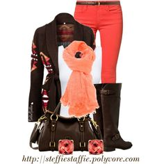 Fall Style: Brown & Coral, created by steffiestaffie on Polyvore