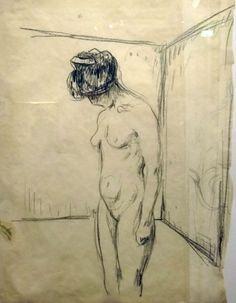 Edvard Munch. Femme nue en pleurs 1930. Crayon gras sur papier