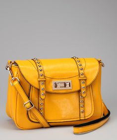Look what I found on #zulily! Yellow Studded Leather Crossbody Bag by Adhesion, LLC #zulilyfinds