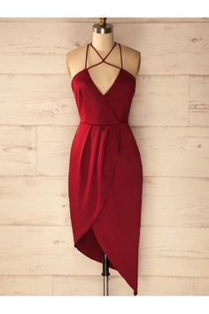 Short Sheath/Column Homecoming Dresses, Burgundy Sleeveless With Pleated Mini Party Dresses WF02G47-758