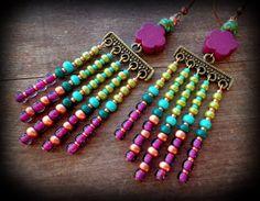 green and purple, chevron earrings, long hippie earrings, boho chandelier earrings, bohemian dangle earrings, bohemian jewelry, flower child