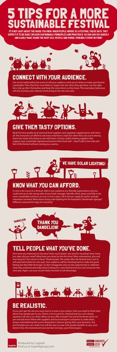 Infographic from Logistik giving tips for event organisers to develop sustainable festival events