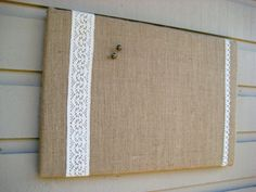 Country Chic Burlap and Lace Bulletin Board by jensdreamdecor, $36.50