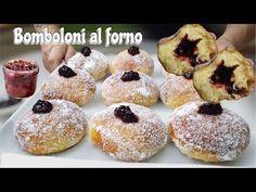 BOMBOLONI al forno SOFFICISSIMI con Marmellata - YouTube Quick Recipes, Bread Recipes, Pizza Lasagna, Baked Doughnuts, Biscotti, Cake Cookies, Bakery, Good Food, Sweets