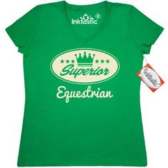 Inktastic Equestrian Vintage Superior Women's V-Neck T-Shirt Gift Retro Crown Hobby Horses Riding Hobbies Clothing Apparel Tees Adult Hws, Size: Small, Green
