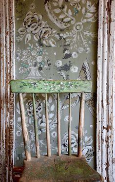 Painting on vintage Salvaged Jennifer Lanne