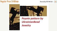 SALE Horse peyote pattern sunset duy by UkrainianBeadJewelry