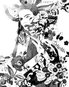 New York-based artist creating charcoal and watercolor illustration and collage using inspiration derived from nature and fantastical distortions of realism. Love Illustration, Watercolor Illustration, Black White Art, Magazine Art, Illustrations Posters, Fashion Illustrations, Art Journals, Fashion Sketches, Contemporary Artists