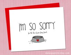 Pet Sympathy Card  Loss of Pet Card Pet Death Card by danaspaperie, $2.99