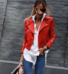 ZARA NEW F/W 2016. INTENSE RED FAUX LEATHER BIKER JACKET Size L ❤️