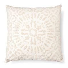 Embellished Medallion Decorative Pillow Square Cream - Threshold™