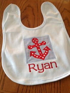 Baby boy nautical sailboat outfit anchor bib set personalized the cutest baby bib for the sweet baby boy personalized with the nautical anchor in an appliqued square frame perfect for a shower gift negle Images