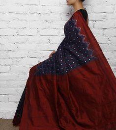 Indigo-maroon silk ikat : Karghaa at indianroots.com