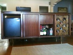 Sam's DIY Mini Bar Credenza...made out of an old stereo cabinet
