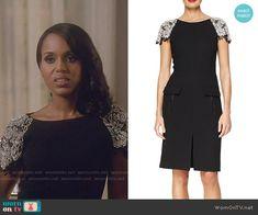 Olivia's black dress with embellished sleeves on Scandal.  Outfit Details: http://wornontv.net/53954/ #Scandal