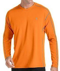Coolibar orange long sleeve UV Protective Men's Sport T-shirts UPF 50+ soft, light and fast drying