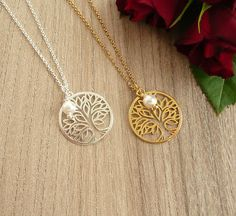 Tree of Life Necklace Silver/Gold Tree of Life and Pearl