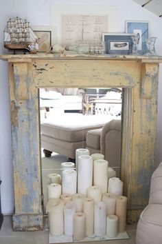 Faux Fireplace - mirror insert (candles - not so much) | Youth Room
