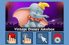 Vintage Disney Jukebox - free teaching activity for switch, touchscreen, pointing device and eye gaze users. Use online or download for Windows PC.