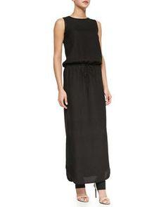 NM : $395.00 RETAIL (2015) Sleeveless Drawstring Jacquard Maxi Dress by Vince at Neiman Marcus.