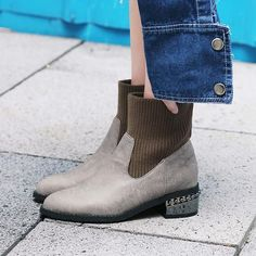 Patchwork Plain Slip-On Ankle Boots