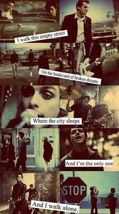 Boulevard of Broken Dreams -Green Day My FAVORITE song of this band! Band Quotes, Music Quotes, Music Lyrics, Quotes Quotes, Good Charlotte, Asking Alexandria, My Chemical Romance, Green Day Lyrics, The Wombats