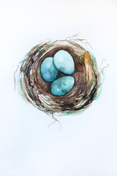 Original watercolor painting eegs in nest. Watercolour art.  This is ORIGINAL watercolor painting shows a eegs in nest. I hope you enjoyed this watercolor painting.  Painting is unframed.  The copyright notice will not appear on the painting it is signed, titled and dated on the back. Will be carefully packaged and shipped by Registered International Mail with tracking number. Please note! That colors may vary slightly from what you see on your monitor. All my watercolor without frame…