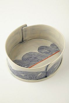 Blue Motif Pacifica Serving Bowl via Anthropologie, design: Linda Fahey Ceramic Tableware, Ceramic Clay, Ceramic Painting, Ceramic Bowls, Slab Pottery, Pottery Bowls, Ceramic Pottery, Slab Ceramics, Modern Ceramics
