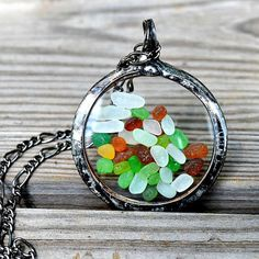 Mixed Colors Beach Glass Jewelry or Sea Glass Jewelry Vintage Pocket Watch Crystals Mermaid Tears Beach Glass Pendant (2397)