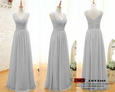 2015 New Chiffon Formal Prom Party Gray Bridesmaid Evening Dresses Custom Made  #Handmade #Sheath #Formal