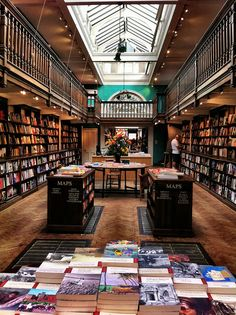 Daunt Books, Marylebone High Street, London, UK. The shop is housed in a former Edwardian bookstore. The older section of the Marylebone shop was completed in 1912 and it is alleged to be the first custom build bookshop in the world.