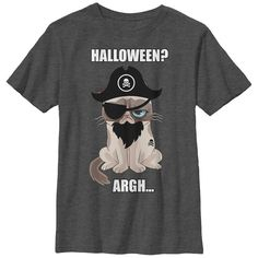 Grumpy Cat Boy's - Halloween Pirate T Shirt