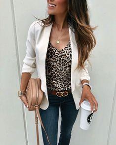 Leopard print top and white blazer White Blazer Outfits, 30 Outfits, Tank Top Outfits, Stylish Outfits, Summer Outfits, Fashion Outfits, White Blazers, Blazer Fashion, White Shirts