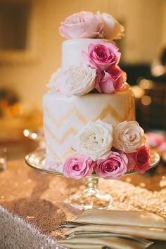 pink chevron glam wedding cake