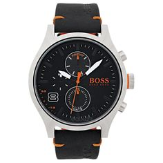 Hugo boss orange label from the Amsterdam collection. Featuring a stainless steel case, multieye black dial and black leather strap with BOSS orange buckle. Hugo Boss Orange, Hugo Boss Watches, Gents Watches, Watches For Men, Hugo By Hugo Boss, Seiko, Montres Hugo Boss, Festina, Bracelet Cuir