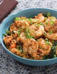 In this dish of spiced shrimp and lemony, aromatic couscous, we're celebrating the region's signature ingredients—from sweet, chewy dates to ras el hanout, a warming spice blend.