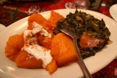 Pumpkin curry and cooked spinach