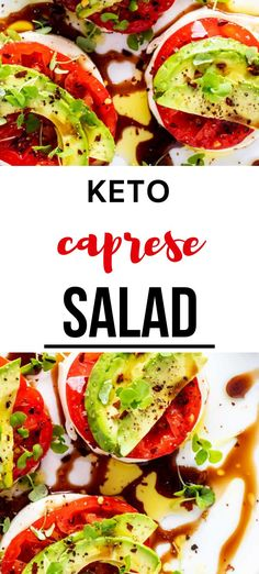 These easy Caprese Salad recipe is perfect for a simple low carb snack!  So simple to make and healthy.  The addition of avocado makes it perfect for your Keto diet. PINNING! #kickingcarbs #wendypolisi #KetoRecipes #EasyRecipes #CapreseSalad #AvocadoCaprese #keto Low Carb Meal Plan, Low Carb Dinner Recipes, Lunch Recipes, Salad Recipes, Diet Recipes, Keto Dinner, Low Carb Zucchini Fries, Okra And Tomatoes, Low Carb Vegetables