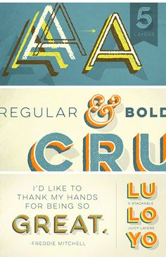 Font Bundle: Lulo Font Families (textured and Clean) - only $14! Versatility and depth. That's the best way to describe the high-quality, professional Lulo Font Family. This awesome deals from Yellow Design Studio brings you all 20 Lulo and Lulo Clean typefaces in all their textured, 3-Dimensional glory! Easily customize these fonts by adjusting colors in each of the 5 stackable layers. Loads more features make these 2 font families worth bringing home for the holidays! If your ...