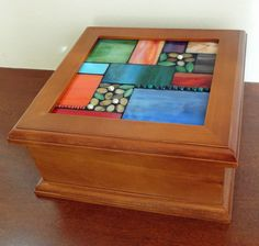 stained glass mosaic, display box, mosaic box, photo box, keepsake box, functional art on Etsy, $125.00