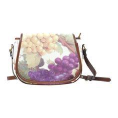 Purple Grapes Butterflies Vintage Floral Saddle Bag/Large (Model 1649)
