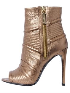 110MM METALLIC LEATHER ANKLE BOOTS