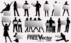 People Silhouettes with Billboards Free Vector Art