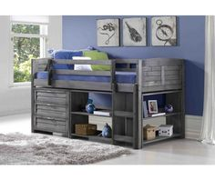 Twin Lofted Bed with Dresser and Bookshelves - the bottom is open so you could put small furniture under it too - there may be a full bed available in this design $889