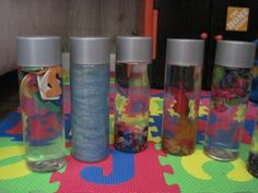 used Voss water bottles for sensory bottles.okay need to find out what a Voss water bottle is ? Sensory Activities, Sensory Play, Preschool Activities, Nanny Activities, Sensory Motor, Sensory Bags, Children Activities, Baby Sensory, Voss Water Bottle