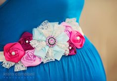 Maternity Sash Baby Girl  French Newsprint by PositivelyWhimsy, $36.99