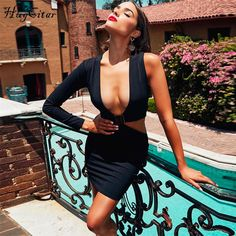 79f0604f6 US $21.67 |Hugcitar single long sleeve hollow out deep V neck sexy mini dress  2018 autumn winter women fashion christmas party club dresses-in Dresses  from ...